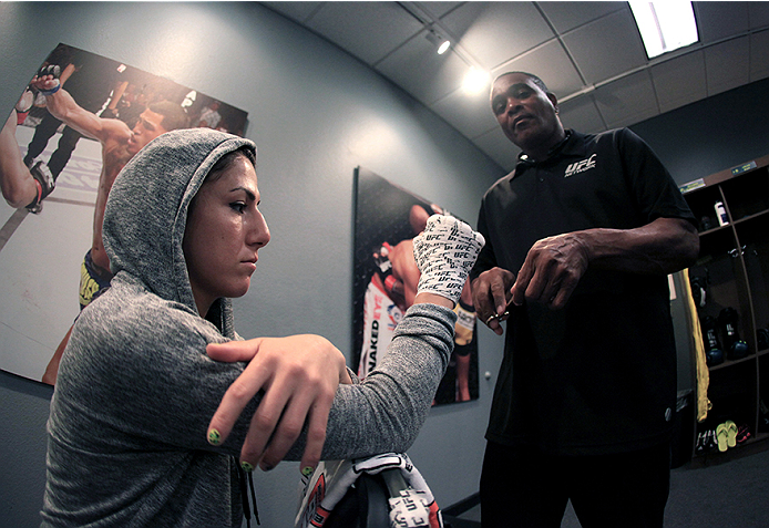 LAS VEGAS, NV - JULY 8:  Team Pettis fighter Randa Markos gets her hands wrapped before facing team Melendez fighter Tecia Torres during filming of season twenty of The Ultimate Fighter on July 8, 2014 in Las Vegas, Nevada. (Photo by Brandon Magnus/Zuffa