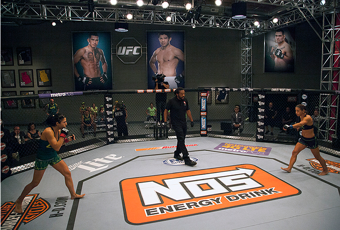 LAS VEGAS, NV - JULY 8:  Team Pettis fighter Randa Markos walks towards the center of the Octagon to face team Melendez fighter Tecia Torres during filming of season twenty of The Ultimate Fighter on July 8, 2014 in Las Vegas, Nevada. (Photo by Brandon Ma