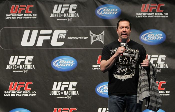 TORONTO, ON - DECEMBER 09:  UFC commentator Mike Goldberg interacts with fans during a Q&A session before the UFC 140 Official Weigh-in at the Air Canada Centre on December 9, 2011 in Toronto, Canada.  (Photo by Josh Hedges/Zuffa LLC/Zuffa LLC via Getty I