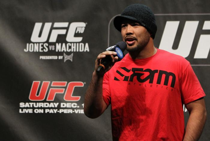 TORONTO, ON - DECEMBER 09:  UFC Middleweight contender Mark Munoz interacts with fans during a Q&A session before the UFC 140 Official Weigh-in at the Air Canada Centre on December 9, 2011 in Toronto, Canada.  (Photo by Josh Hedges/Zuffa LLC/Zuffa LLC via