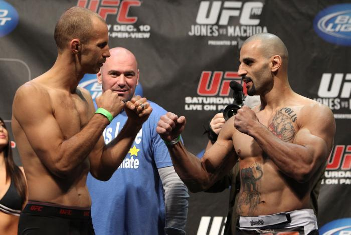 TORONTO, ON - DECEMBER 09:  (L-R) Middleweight opponents Jared Hamman and Constantinos Philippou face off after weighing in during the UFC 140 Official Weigh-in at the Air Canada Centre on December 9, 2011 in Toronto, Canada.  (Photo by Josh Hedges/Zuffa