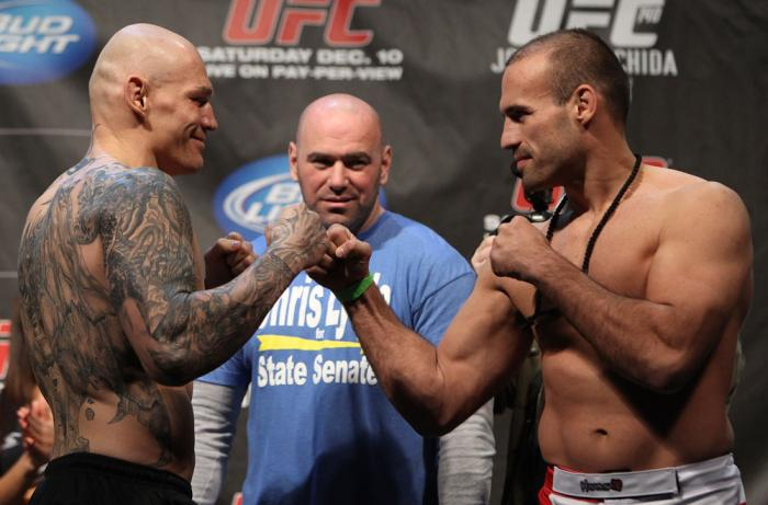 TORONTO, ON - DECEMBER 09:  (L-R) Light Heavyweight opponents Krzysztof Soszynski and Igor Pokrajac face off after weighing in during the UFC 140 Official Weigh-in at the Air Canada Centre on December 9, 2011 in Toronto, Canada.  (Photo by Josh Hedges/Zuf