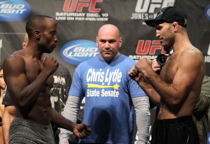 TORONTO, ON - DECEMBER 09:  (L-R) Welterweight opponents Claude Patrick and Brian Ebersole face off after weighing in during the UFC 140 Official Weigh-in at the Air Canada Centre on December 9, 2011 in Toronto, Canada.  (Photo by Josh Hedges/Zuffa LLC/Zu