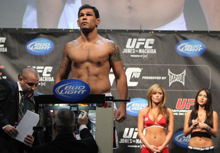"""TORONTO, ON - DECEMBER 09:  Antonio Rodrigo """"Minotauro"""" Nogueira weighs in during the UFC 140 Official Weigh-in at the Air Canada Centre on December 9, 2011 in Toronto, Canada.  (Photo by Josh Hedges/Zuffa LLC/Zuffa LLC via Getty Images)"""