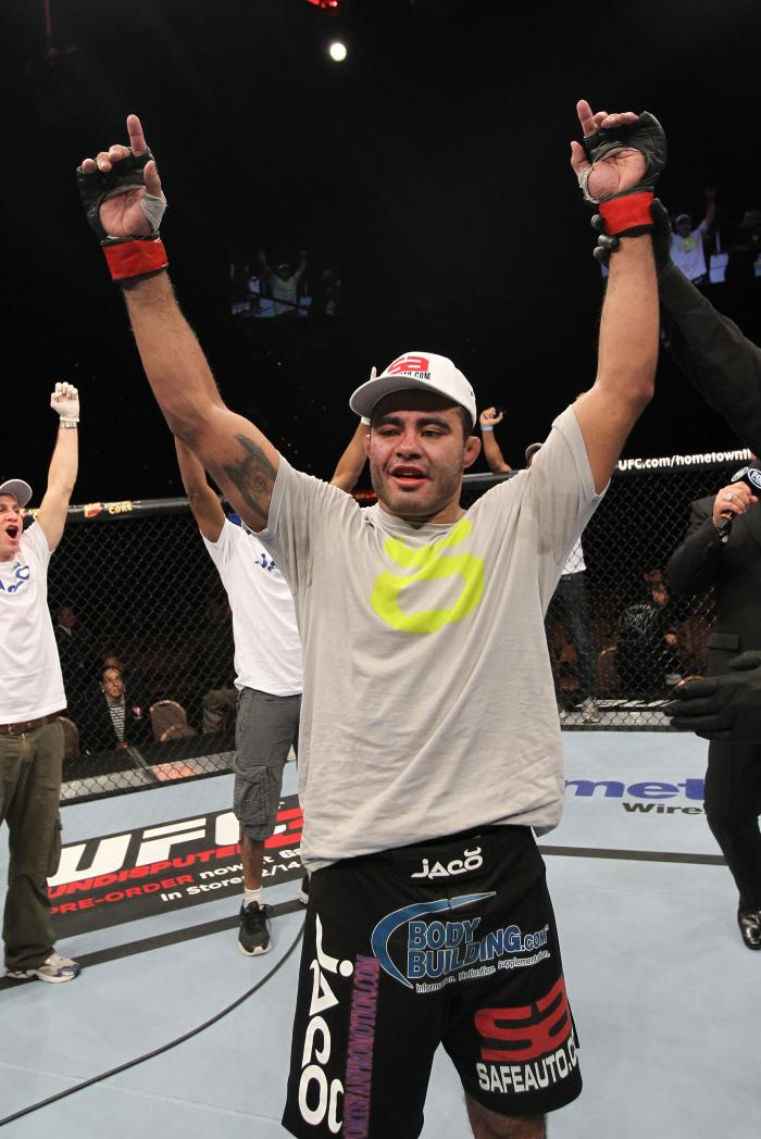 LAS VEGAS, NV - FEBRUARY 04:  Rafael Natal is declared the winner in his fight against Michael Kuiper during the UFC 143 event at Mandalay Bay Events Center on February 4, 2012 in Las Vegas, Nevada.  (Photo by Nick Laham/Zuffa LLC/Zuffa LLC via Getty Imag
