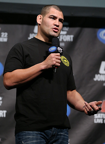 TORONTO, CANADA - SEPTEMBER 21:   Cain Velasquez interacts with fans during a Q&A session before the UFC 152 weigh in at Mattamy Athletic Centre at the Gardens on September 21, 2012 in Toronto, Ontario, Canada.  (Photo by Josh Hedges/Zuffa LLC/Zuffa LLC v