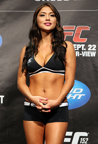 TORONTO, CANADA - SEPTEMBER 21: UFC Octagon Girl Arianny Celeste stands on stage during the UFC 152 weigh in at Mattamy Athletic Centre at the Gardens on September 21, 2012 in Toronto, Ontario, Canada. (Photo by Mike Roach/Zuffa LLC/Zuffa LLC via Getty Im