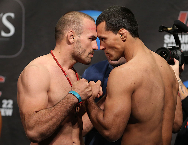 TORONTO, CANADA - SEPTEMBER 21: (L-R) Opponents Igor Pokrajac and Vinny Magalhaes face off during the UFC 152 weigh in at Mattamy Athletic Centre at the Gardens on September 21, 2012 in Toronto, Ontario, Canada. (Photo by Josh Hedges/Zuffa LLC/Zuffa LLC v