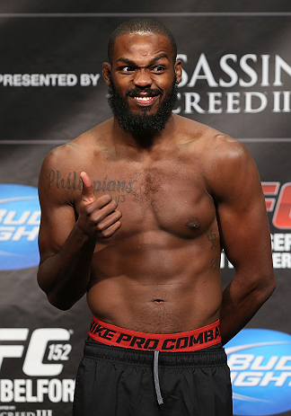 "TORONTO, CANADA - SEPTEMBER 21: Jon ""Bones"" Jones reacts to the fans during the UFC 152 weigh in at Mattamy Athletic Centre at the Gardens on September 21, 2012 in Toronto, Ontario, Canada. (Photo by Josh Hedges/Zuffa LLC/Zuffa LLC via Getty Images)"