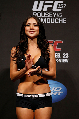 ANAHEIM, CA - FEBRUARY 22:  UFC Octagon Girl Arianny Celeste stands on stage during the UFC 157 weigh-in at Honda Center on February 22, 2013 in Anaheim, California.  (Photo by Josh Hedges/Zuffa LLC/Zuffa LLC via Getty Images)