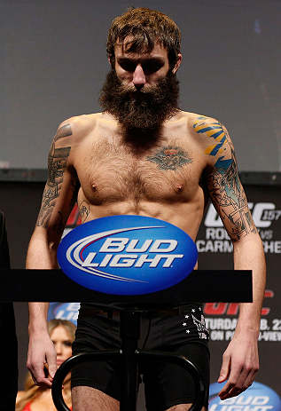 ANAHEIM, CA - FEBRUARY 22:  Michael Chiesa weighs in during the UFC 157 weigh-in at Honda Center on February 22, 2013 in Anaheim, California.  (Photo by Josh Hedges/Zuffa LLC/Zuffa LLC via Getty Images)