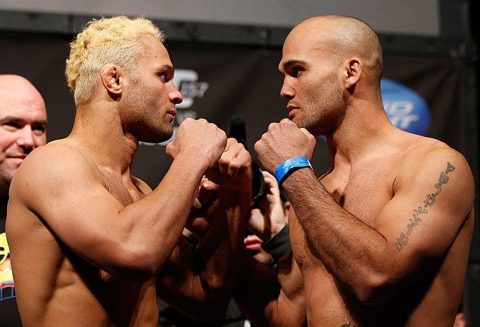 ANAHEIM, CA - FEBRUARY 22:  (L-R) Opponents Josh Koscheck and Robbie Lawler face off during the UFC 157 weigh-in at Honda Center on February 22, 2013 in Anaheim, California.  (Photo by Josh Hedges/Zuffa LLC/Zuffa LLC via Getty Images)
