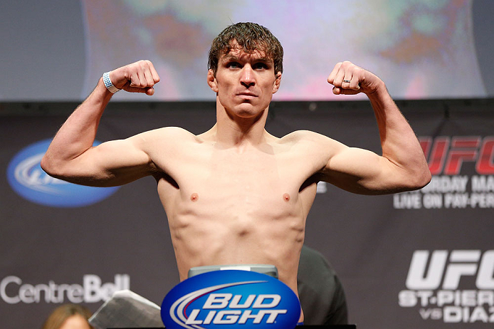MONTREAL, QC - MARCH 15: Darren Elkins weighs in during the UFC 158 weigh-in at Bell Centre on March 15, 2013 in Montreal, Quebec, Canada.  (Photo by Josh Hedges/Zuffa LLC/Zuffa LLC via Getty Images)