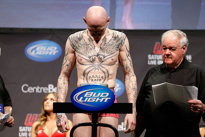 """MONTREAL, QC - MARCH 15:  Colin """"Freakshow"""" Fletcher weighs in during the UFC 158 weigh-in at Bell Centre on March 15, 2013 in Montreal, Quebec, Canada.  (Photo by Josh Hedges/Zuffa LLC/Zuffa LLC via Getty Images) *** Loal Caption *** Colin Fletcher"""