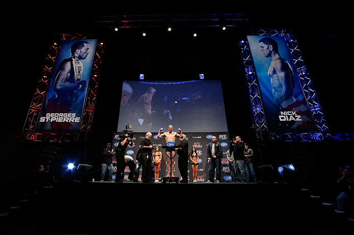MONTREAL, QC - MARCH 15:  Nate Marquardt weighs in during the UFC 158 weigh-in at Bell Centre on March 15, 2013 in Montreal, Quebec, Canada.  (Photo by Josh Hedges/Zuffa LLC/Zuffa LLC via Getty Images)