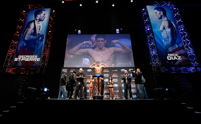 MONTREAL, QC - MARCH 15:  Nick Diaz weighs in during the UFC 158 weigh-in at Bell Centre on March 15, 2013 in Montreal, Quebec, Canada.  (Photo by Josh Hedges/Zuffa LLC/Zuffa LLC via Getty Images)