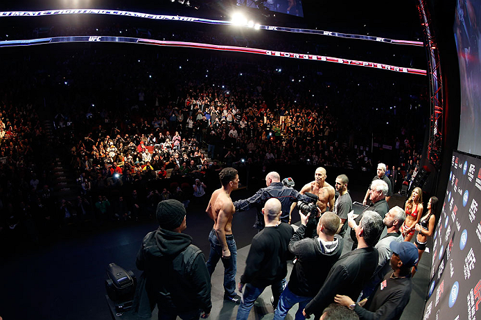 MONTREAL, QC - MARCH 15:  (R-L) Opponents Georges St-Pierre and Nick Diaz are separated by UFC president Dana White during the UFC 158 weigh-in at Bell Centre on March 15, 2013 in Montreal, Quebec, Canada.  (Photo by Josh Hedges/Zuffa LLC/Zuffa LLC via Ge
