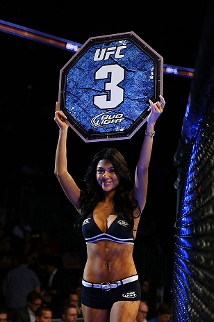 NEWARK, NJ - APRIL 27:  Octagon girl Arianny Celeste is seen during the featherweight bout between Steven Siler and Kurt Holobaugh during the UFC 159 event at the Prudential Center on April 27, 2013 in Newark, New Jersey.  (Photo by Al Bello/Zuffa LLC/Zuf