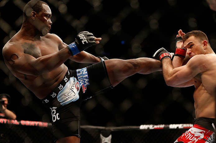 NEWARK, NJ - APRIL 27:   (L-R) Ovince Saint Preux kicks Gian Villante in their light heavyweight fight during the UFC 159 event at the Prudential Center on April 27, 2013 in Newark, New Jersey.  (Photo by Josh Hedges/Zuffa LLC/Zuffa LLC via Getty Images)