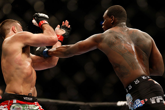 NEWARK, NJ - APRIL 27:   (R-L) Ovince Saint Preux punches Gian Villante in their light heavyweight fight during the UFC 159 event at the Prudential Center on April 27, 2013 in Newark, New Jersey.  (Photo by Josh Hedges/Zuffa LLC/Zuffa LLC via Getty Images