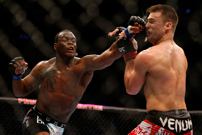 NEWARK, NJ - APRIL 27:   (L-R) Ovince Saint Preux punches Gian Villante in their light heavyweight fight during the UFC 159 event at the Prudential Center on April 27, 2013 in Newark, New Jersey.  (Photo by Josh Hedges/Zuffa LLC/Zuffa LLC via Getty Images