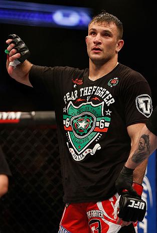 NEWARK, NJ - APRIL 27:   Gian Villante expresses his displeasure after a controversial stoppage in his light heavyweight fight against Ovince Saint Preux during the UFC 159 event at the Prudential Center on April 27, 2013 in Newark, New Jersey.  (Photo by