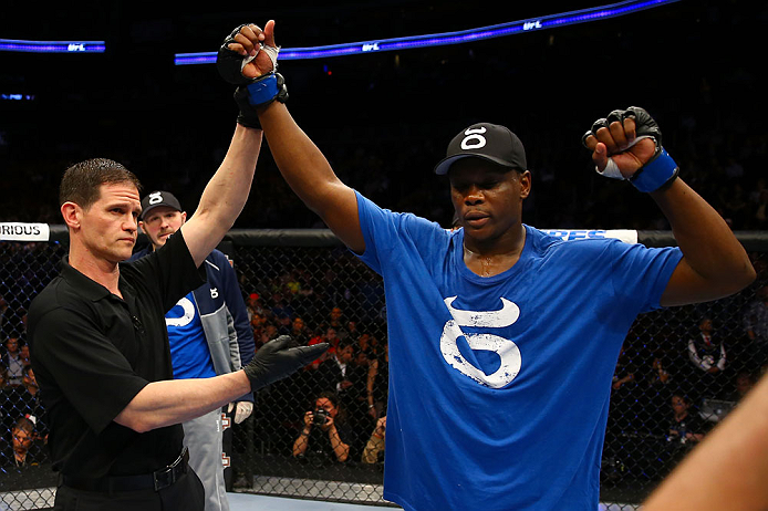 NEWARK, NJ - APRIL 27: Ovince Saint Preux is announced winner by majority technical decision against Gian Villante in their light heavyweight bout during the UFC 159 event at the Prudential Center on April 27, 2013 in Newark, New Jersey.  (Photo by Al Bel