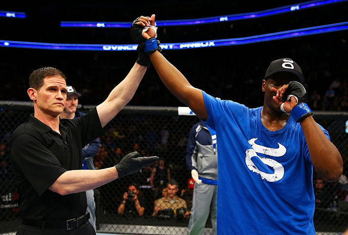 NEWARK, NJ - APRIL 27:  Ovince Saint Preux is announced winner by majority technical decision against Gian Villante in their light heavyweight bout during the UFC 159 event at the Prudential Center on April 27, 2013 in Newark, New Jersey.  (Photo by Al Be