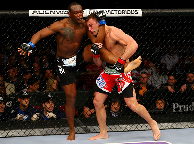 NEWARK, NJ - APRIL 27:  (L-R) Ovince Saint Preux battles against Gian Villante in their light heavyweight bout during the UFC 159 event at the Prudential Center on April 27, 2013 in Newark, New Jersey.  (Photo by Al Bello/Zuffa LLC/Zuffa LLC Via Getty Ima