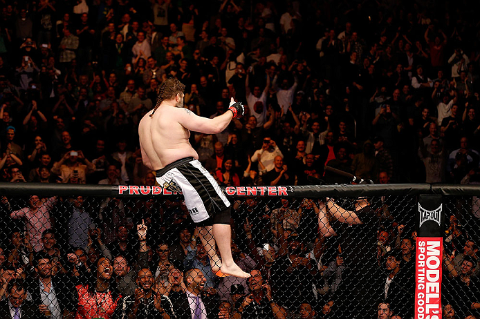 NEWARK, NJ - APRIL 27:   Roy Nelson reacts after his knockout victory over Cheick Kongo in their heavyweight fight during the UFC 159 event at the Prudential Center on April 27, 2013 in Newark, New Jersey.  (Photo by Josh Hedges/Zuffa LLC/Zuffa LLC via Ge