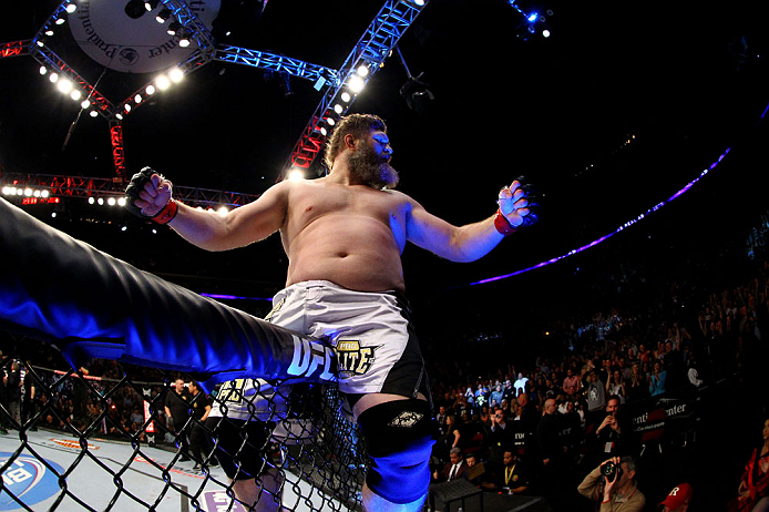 NEWARK, NJ - APRIL 27:  Roy Nelson celebrates his win by knockout against Cheick Kongo of France in their heavyweight bout during the UFC 159 event at the Prudential Center on April 27, 2013 in Newark, New Jersey.  (Photo by Al Bello/Zuffa LLC/Zuffa LLC V