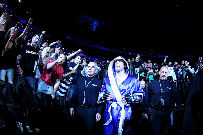 NEWARK, NJ - APRIL 27:  Chael Sonnen walks to octagon before facing Jon Jones in their light heavyweight championship bout during the UFC 159 event at the Prudential Center on April 27, 2013 in Newark, New Jersey.  (Photo by Al Bello/Zuffa LLC/Zuffa LLC V