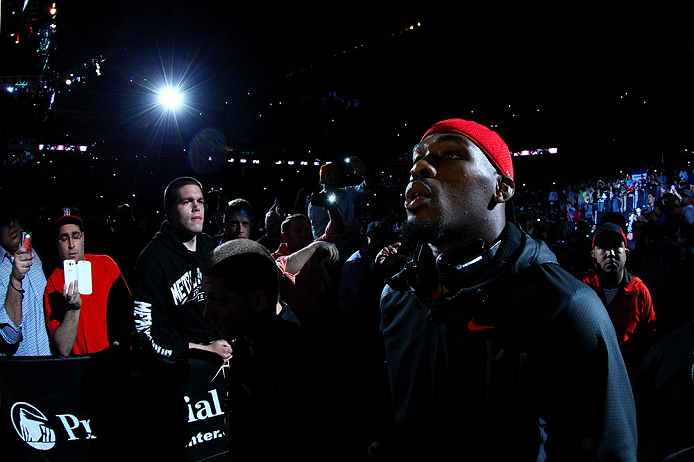 NEWARK, NJ - APRIL 27:  Jon Jones walks to the octagon before facing Chael Sonnen in their light heavyweight championship bout during the UFC 159 event at the Prudential Center on April 27, 2013 in Newark, New Jersey.  (Photo by Al Bello/Zuffa LLC/Zuffa L