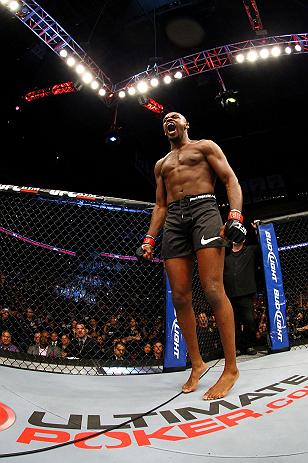 NEWARK, NJ - APRIL 27: Jon Jones cheers before fighting against Chael Sonnen in their light heavyweight championship bout during the UFC 159 event at the Prudential Center on April 27, 2013 in Newark, New Jersey.  (Photo by Al Bello/Zuffa LLC/Zuffa LLC Vi