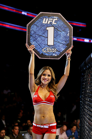 NEWARK, NJ - APRIL 27: Octagon girl Brittney Palmer is seen during the featherweight bout between Leonard Garcia and Cody McKenzie during the UFC 159 event at the Prudential Center on April 27, 2013 in Newark, New Jersey.  (Photo by Al Bello/Zuffa LLC/Zuf