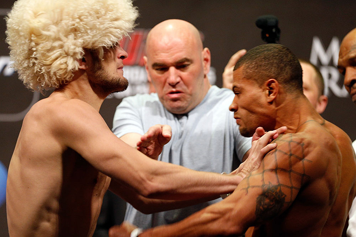 LAS VEGAS, NV - MAY 24:   (L-R) Opponents Khabib Nurmagomedov and Abel Trujillo face off during the UFC 160 weigh-in at the MGM Grand Garden Arena on May 24, 2013 in Las Vegas, Nevada.  (Photo by Josh Hedges/Zuffa LLC/Zuffa LLC via Getty Images)