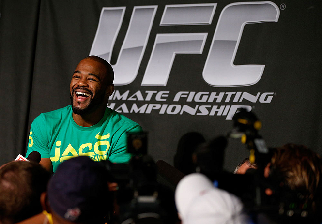 WINNIPEG, CANADA - JUNE 13:  Rashad Evans interacts with media during the UFC 161 media day at The Met on June 13, 2013 in Winnipeg, Manitoba, Canada.  (Photo by Josh Hedges/Zuffa LLC/Zuffa LLC via Getty Images)