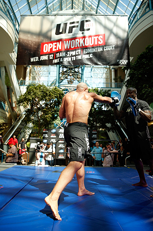 WINNIPEG, CANADA - JUNE 12:  Ryan Jimmo holds an open workout session for fans and media at Portage Place on June 12, 2013 in Winnipeg, Manitoba, Canada.  (Photo by Josh Hedges/Zuffa LLC/Zuffa LLC via Getty Images)