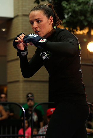 WINNIPEG, CANADA - JUNE 12:  Alexis Davis holds an open workout session for fans and media at Portage Place on June 12, 2013 in Winnipeg, Manitoba, Canada.  (Photo by Josh Hedges/Zuffa LLC/Zuffa LLC via Getty Images)