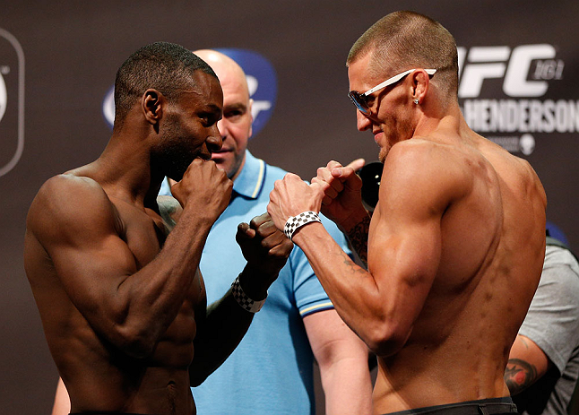 WINNIPEG, CANADA - JUNE 14:  (L-R) Opponents Yves Jabouin and Dustin Pague face off during the UFC 161 weigh-in at the MTS Centre on June 14, 2013 in Winnipeg, Manitoba, Canada.  (Photo by Josh Hedges/Zuffa LLC/Zuffa LLC via Getty Images)