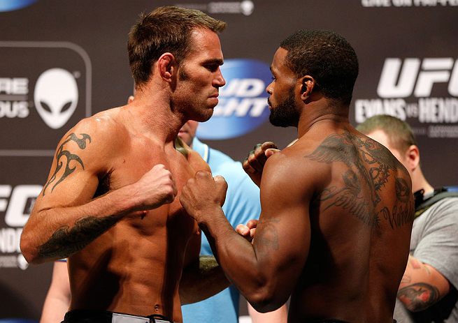 WINNIPEG, CANADA - JUNE 14:  (L-R) Opponents Jake Shields and Tyron Woodley face off during the UFC 161 weigh-in at the MTS Centre on June 14, 2013 in Winnipeg, Manitoba, Canada.  (Photo by Josh Hedges/Zuffa LLC/Zuffa LLC via Getty Images)