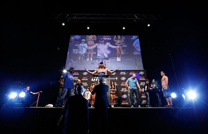 """WINNIPEG, CANADA - JUNE 14:  """"Big Country"""" Roy Nelson weighs in during the UFC 161 weigh-in at the MTS Centre on June 14, 2013 in Winnipeg, Manitoba, Canada.  (Photo by Josh Hedges/Zuffa LLC/Zuffa LLC via Getty Images)"""