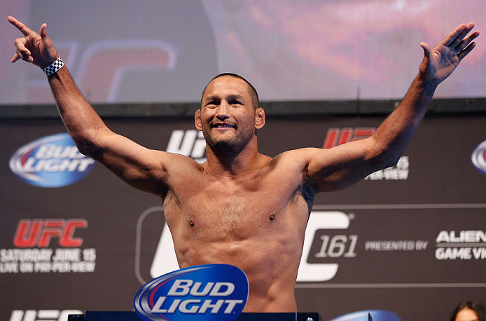 WINNIPEG, CANADA - JUNE 14:  Dan Henderson weighs in during the UFC 161 weigh-in at the MTS Centre on June 14, 2013 in Winnipeg, Manitoba, Canada.  (Photo by Josh Hedges/Zuffa LLC/Zuffa LLC via Getty Images)