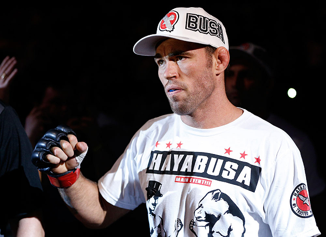 WINNIPEG, CANADA - JUNE 15:  Jake Shields enters the arena before his welterweight fight against Tyron Woodley during the UFC 161 event at the MTS Centre on June 15, 2013 in Winnipeg, Manitoba, Canada.  (Photo by Josh Hedges/Zuffa LLC/Zuffa LLC via Getty