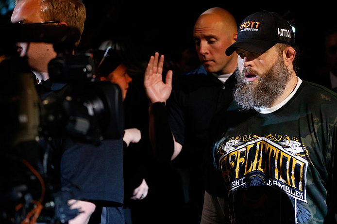 """WINNIPEG, CANADA - JUNE 15:  """"Big Country"""" Roy Nelson enters the arena before his heavyweight fight against Stipe Miocic during the UFC 161 event at the MTS Centre on June 15, 2013 in Winnipeg, Manitoba, Canada.  (Photo by Josh Hedges/Zuffa LLC/Zuffa LLC"""