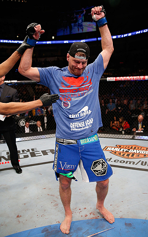 WINNIPEG, CANADA - JUNE 15:  Stipe Miocic reacts after his victory over Roy Nelson in their heavyweight fight during the UFC 161 event at the MTS Centre on June 15, 2013 in Winnipeg, Manitoba, Canada.  (Photo by Josh Hedges/Zuffa LLC/Zuffa LLC via Getty I