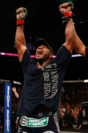 WINNIPEG, CANADA - JUNE 15:  Rashad Evans reacts after his split decision victory over Dan Henderson in their light heavyweight fight during the UFC 161 event at the MTS Centre on June 15, 2013 in Winnipeg, Manitoba, Canada.  (Photo by Josh Hedges/Zuffa L