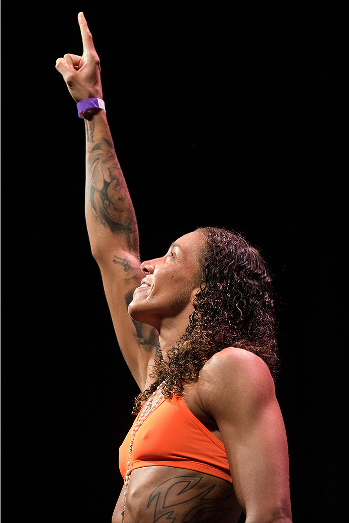 DALLAS, TX - MARCH 13: Germaine de Randamie stands on the scale during the UFC 185 weigh-ins at the Kay Bailey Hutchison Convention Center on March 13, 2015 in Dallas, Texas. (Photo by Cooper Neill/Zuffa LLC/Zuffa LLC via Getty Images)