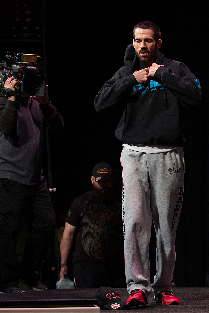 DALLAS, TX - MARCH 13: Matt Brown walks to the scale during the UFC 185 weigh-ins at the Kay Bailey Hutchison Convention Center on March 13, 2015 in Dallas, Texas. (Photo by Cooper Neill/Zuffa LLC/Zuffa LLC via Getty Images)