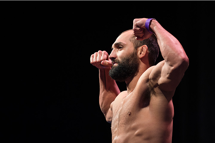 DALLAS, TX - MARCH 13: Johny Hendricks stands on the scale during the UFC 185 weigh-ins at the Kay Bailey Hutchison Convention Center on March 13, 2015 in Dallas, Texas. (Photo by Cooper Neill/Zuffa LLC/Zuffa LLC via Getty Images)